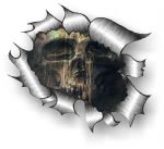 Ripped Torn Metal Design With Aged Skull Motif External Vinyl Car Sticker 105x130mm